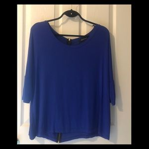 Seductions Blue 3/4 Sleeve Top with Back Zipper